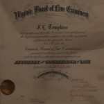 Virginia Board of Law Examiners Certificate for JL Tompkins, December 1924